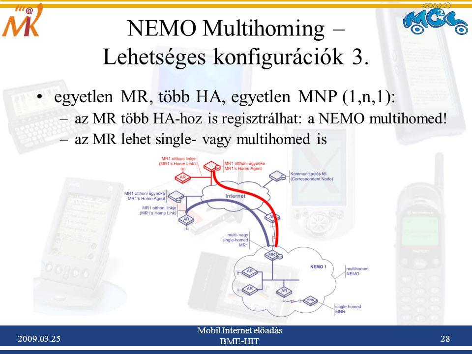2009.03.25 Mobil Internet előadás BME-HIT 28 NEMO Multihoming – Lehetséges konfigurációk 3. •egyetlen MR, több HA, egyetlen MNP (1,n,1): –az MR több H