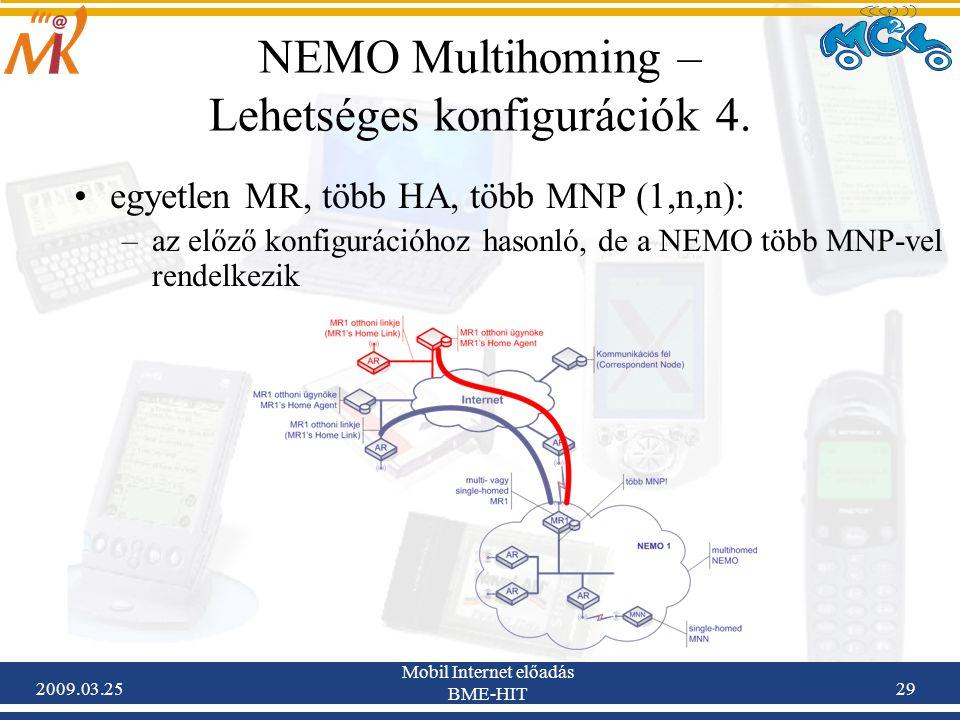 2009.03.25 Mobil Internet előadás BME-HIT 29 NEMO Multihoming – Lehetséges konfigurációk 4. •egyetlen MR, több HA, több MNP (1,n,n): –az előző konfigu