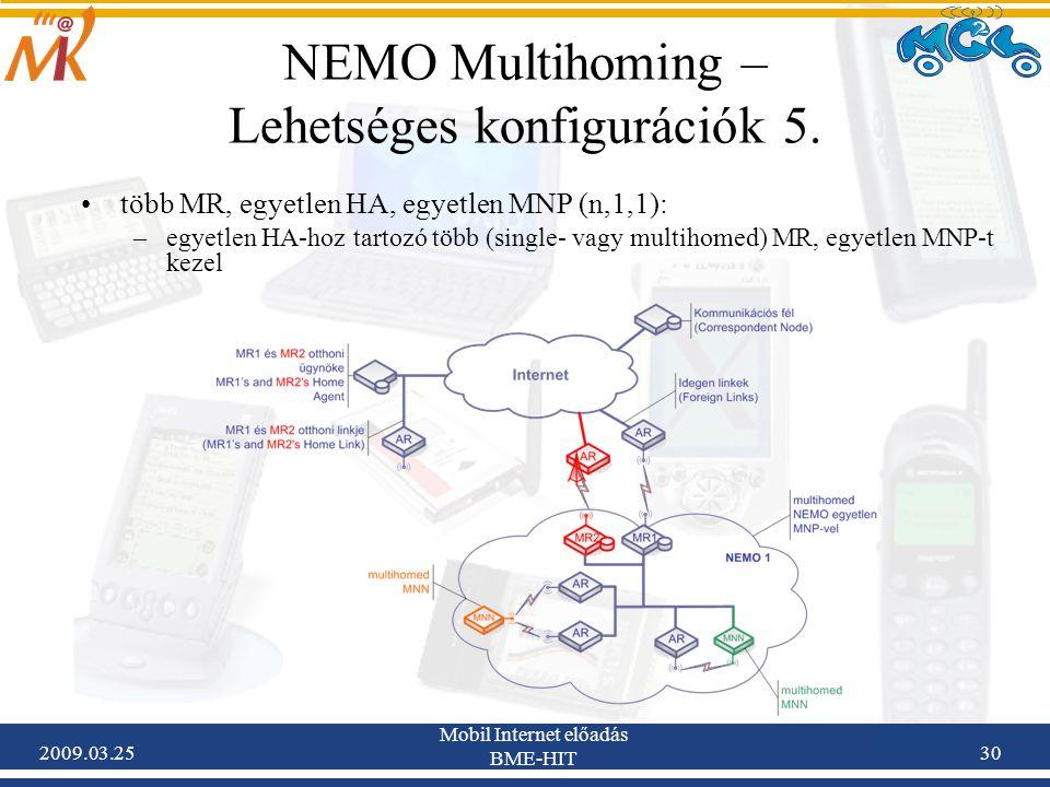 2009.03.25 Mobil Internet előadás BME-HIT 30 NEMO Multihoming – Lehetséges konfigurációk 5. •több MR, egyetlen HA, egyetlen MNP (n,1,1): –egyetlen HA-