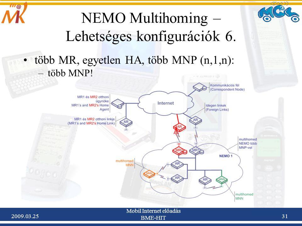 2009.03.25 Mobil Internet előadás BME-HIT 31 NEMO Multihoming – Lehetséges konfigurációk 6. •több MR, egyetlen HA, több MNP (n,1,n): –több MNP!