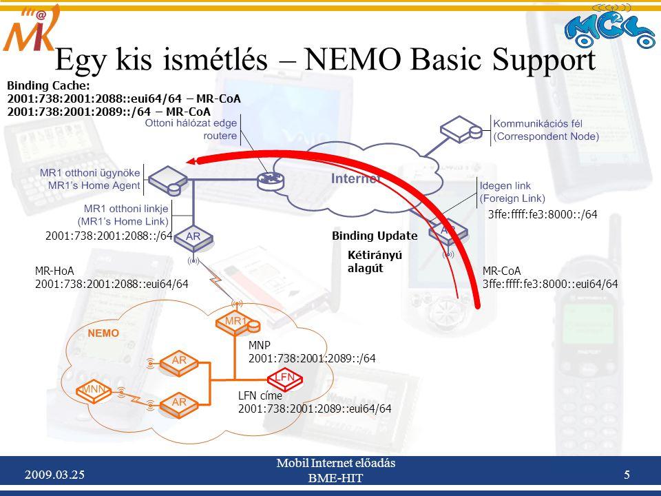 2009.03.25 Mobil Internet előadás BME-HIT 5 Egy kis ismétlés – NEMO Basic Support 2001:738:2001:2088::/64 MR-HoA 2001:738:2001:2088::eui64/64 MNP 2001