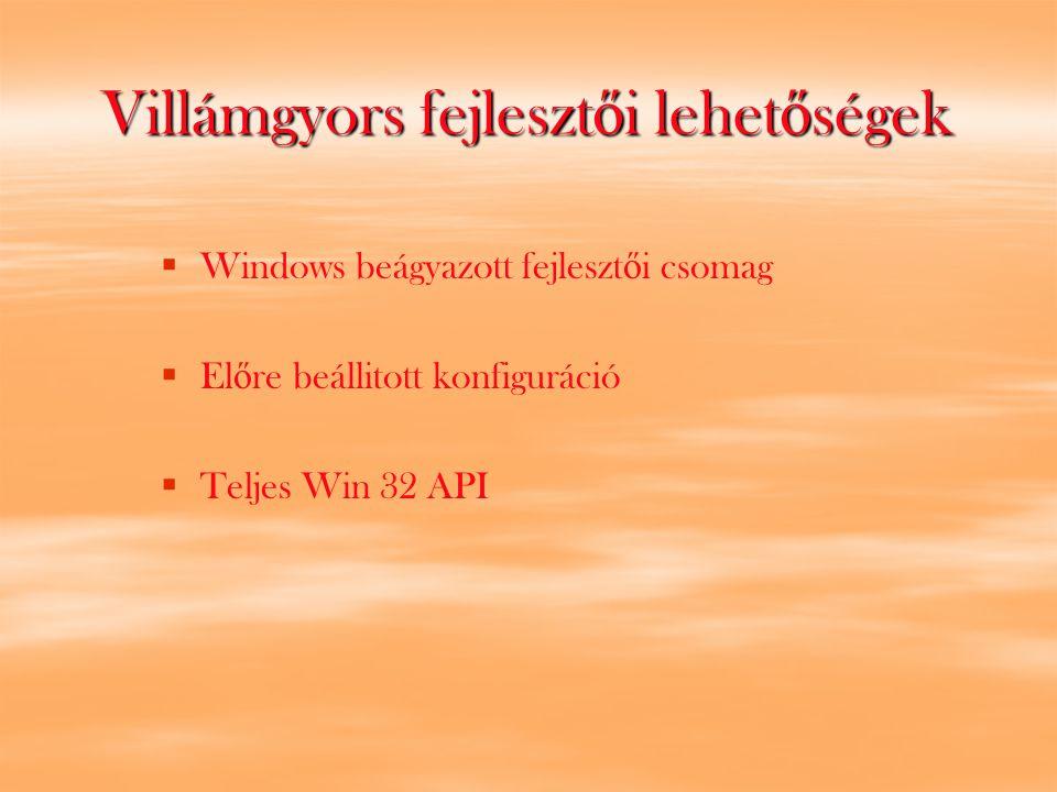 Villámgyors fejleszt ő i lehet ő ségek   Windows beágyazott fejleszt ő i csomag   El ő re beállitott konfiguráció   Teljes Win 32 API