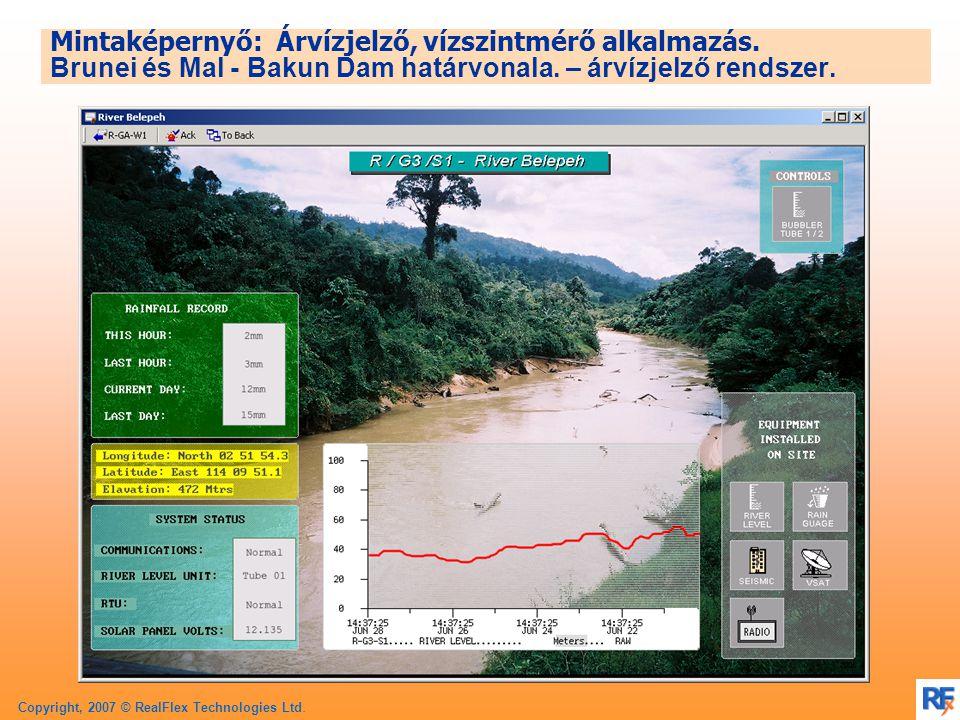 Copyright, 2007 © RealFlex Technologies Ltd. Mintaképernyő: Árvízjelző, vízszintmérő alkalmazás.