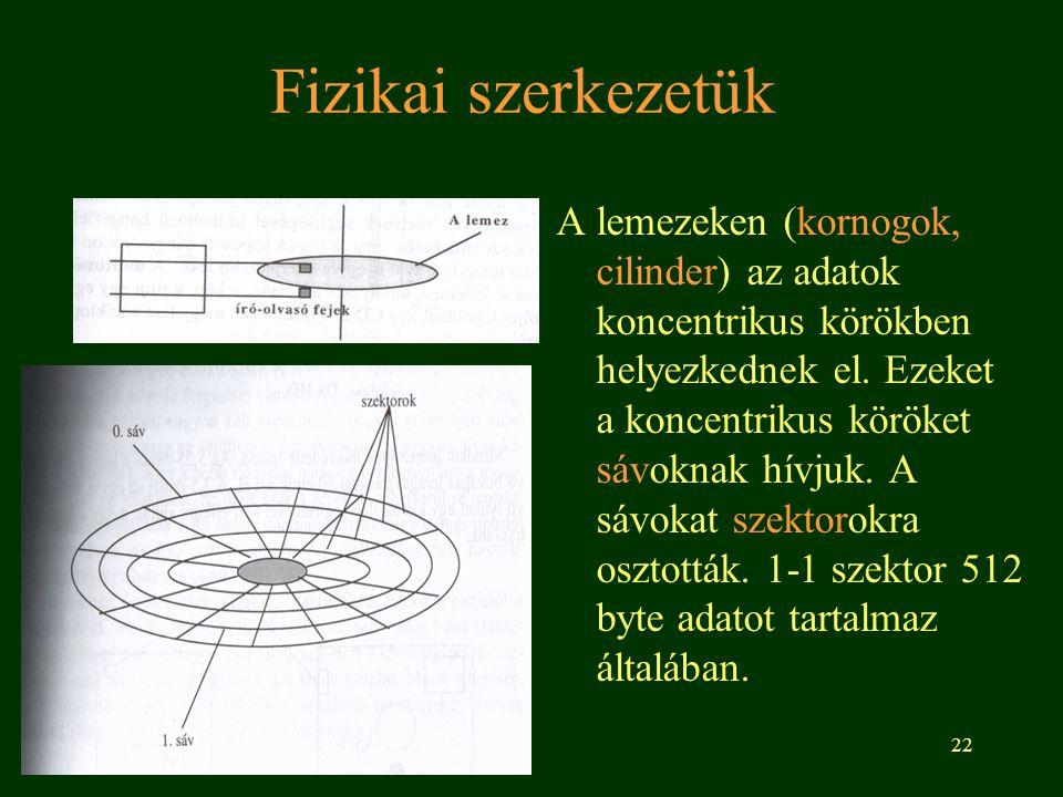 22 Fizikai szerkezetük A lemezeken (kornogok, cilinder) az adatok koncentrikus körökben helyezkednek el. Ezeket a koncentrikus köröket sávoknak hívjuk