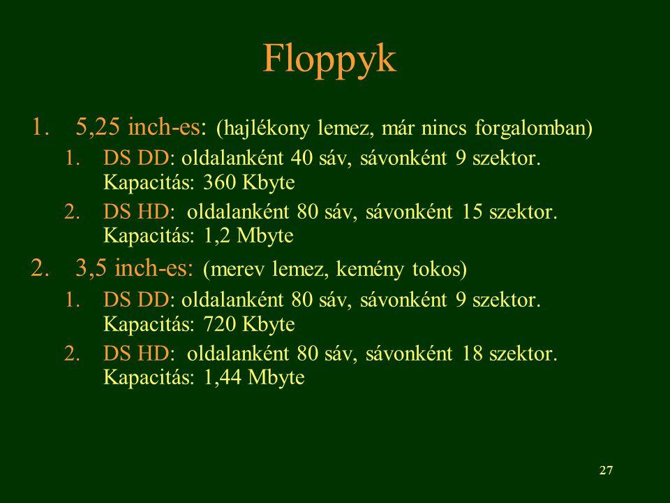 27 Floppyk 1.5,25 inch-es: (hajlékony lemez, már nincs forgalomban) 1.DS DD: oldalanként 40 sáv, sávonként 9 szektor. Kapacitás: 360 Kbyte 2.DS HD: ol