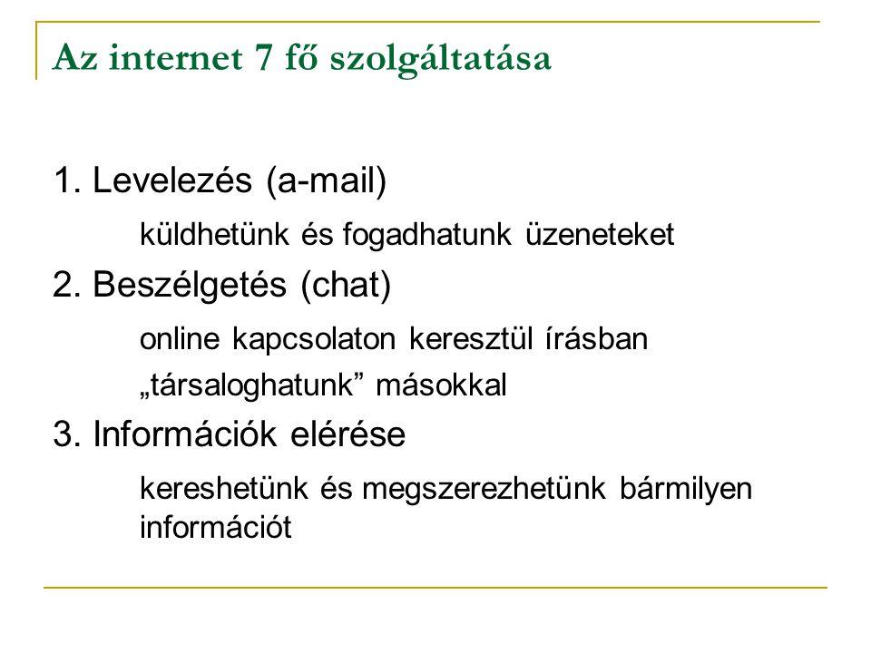 """Az internet 7 fő szolgáltatása 1. Levelezés (a-mail) küldhetünk és fogadhatunk üzeneteket 2. Beszélgetés (chat) online kapcsolaton keresztül írásban """""""