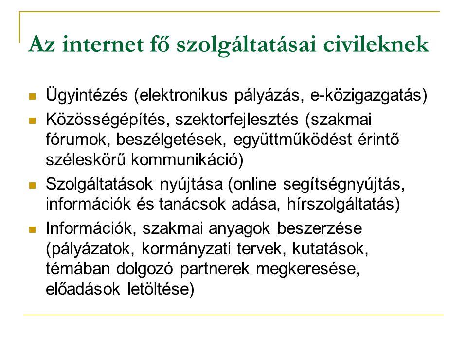 Az internet fő szolgáltatásai civileknek  Ügyintézés (elektronikus pályázás, e-közigazgatás)  Közösségépítés, szektorfejlesztés (szakmai fórumok, beszélgetések, együttműködést érintő széleskörű kommunikáció)  Szolgáltatások nyújtása (online segítségnyújtás, információk és tanácsok adása, hírszolgáltatás)  Információk, szakmai anyagok beszerzése (pályázatok, kormányzati tervek, kutatások, témában dolgozó partnerek megkeresése, előadások letöltése)