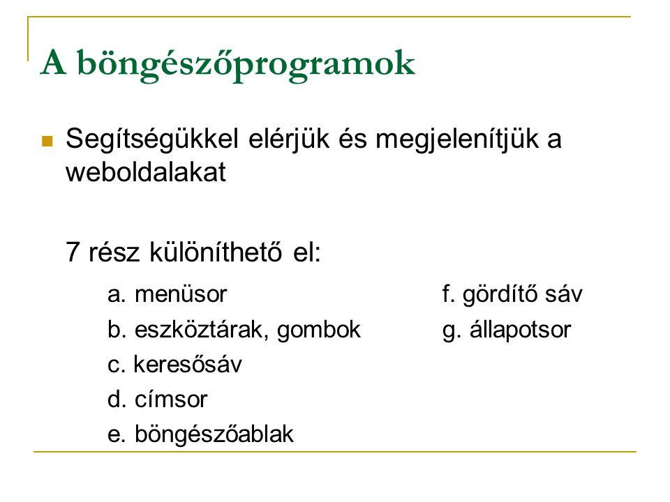 A böngészőprogramok  Segítségükkel elérjük és megjelenítjük a weboldalakat 7 rész különíthető el: a. menüsorf. gördítő sáv b. eszköztárak, gombokg. á