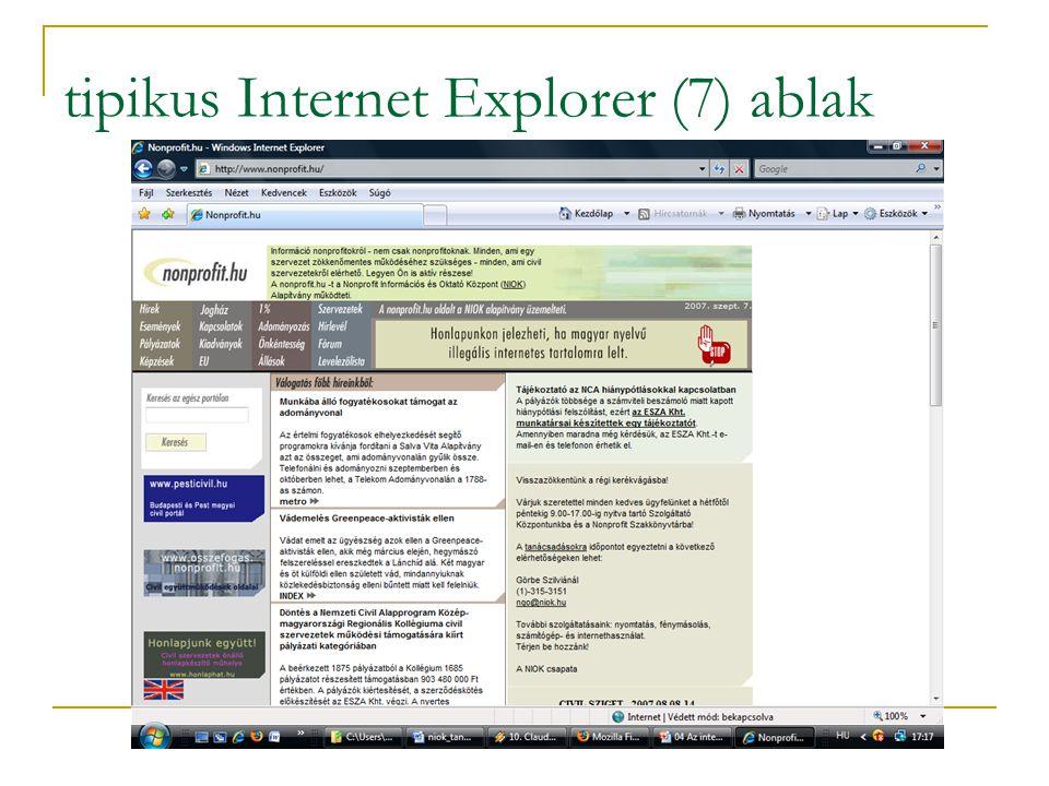 tipikus Internet Explorer (7) ablak