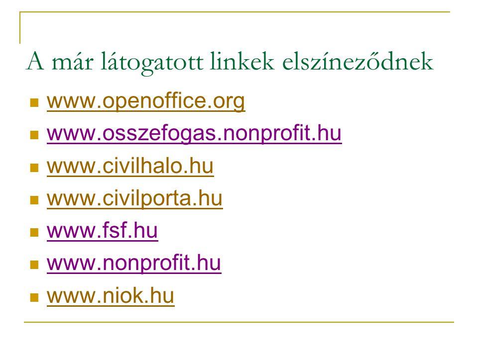 A már látogatott linkek elszíneződnek  www.openoffice.org www.openoffice.org  www.osszefogas.nonprofit.hu  www.civilhalo.hu www.civilhalo.hu  www.civilporta.hu www.civilporta.hu  www.fsf.hu  www.nonprofit.hu  www.niok.hu www.niok.hu