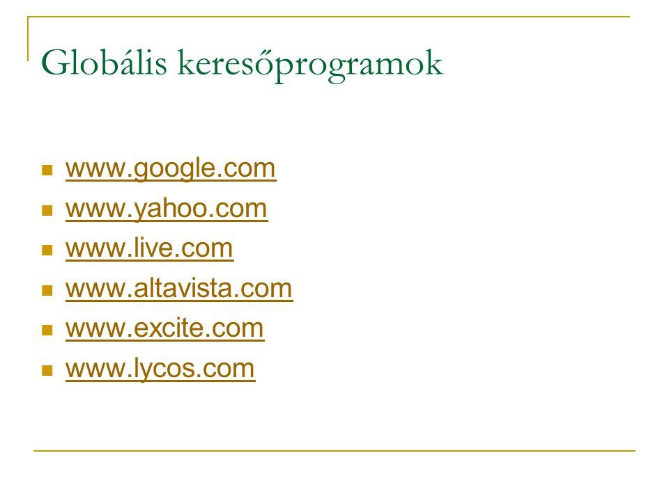 Globális keresőprogramok  www.google.com www.google.com  www.yahoo.com www.yahoo.com  www.live.com www.live.com  www.altavista.com www.altavista.c