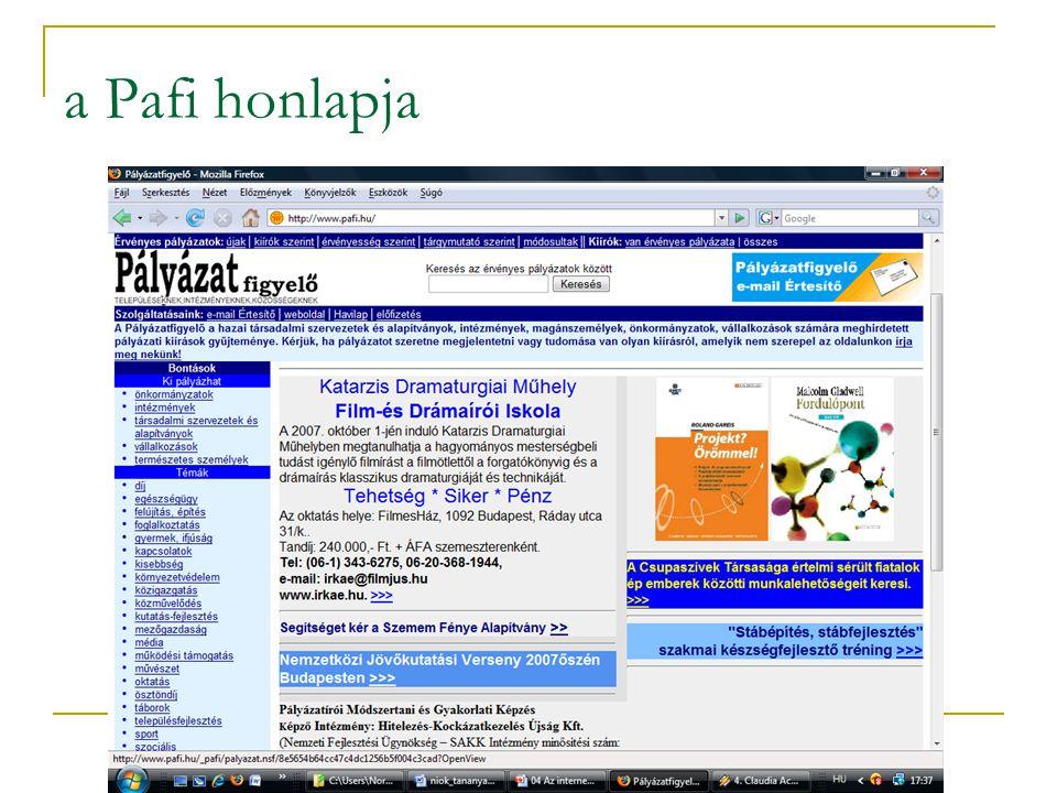a Pafi honlapja