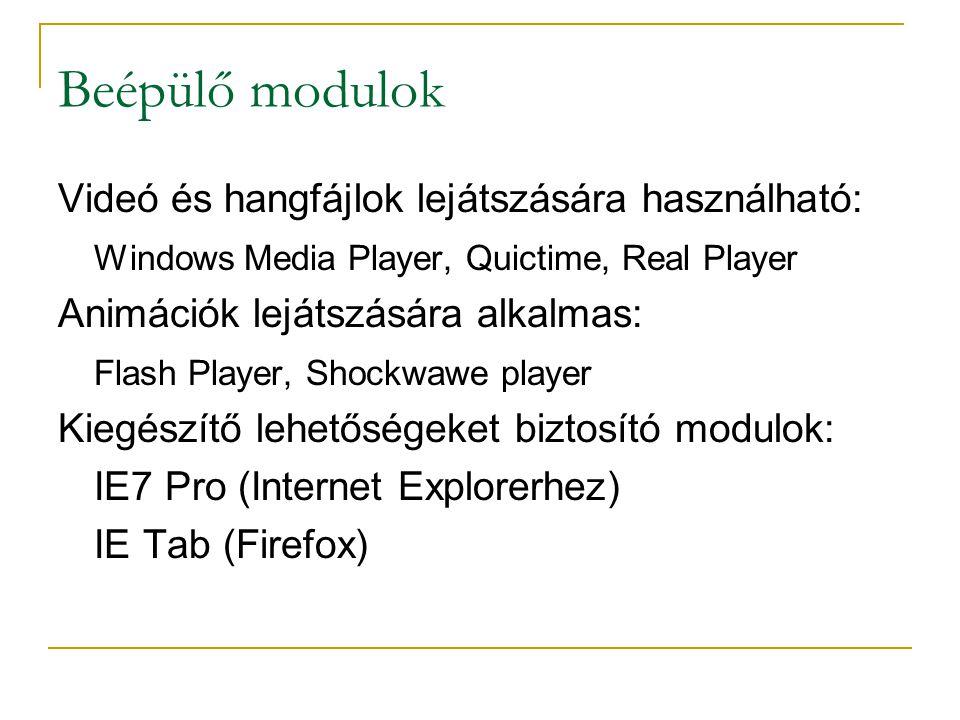 Beépülő modulok Videó és hangfájlok lejátszására használható: Windows Media Player, Quictime, Real Player Animációk lejátszására alkalmas: Flash Player, Shockwawe player Kiegészítő lehetőségeket biztosító modulok: IE7 Pro (Internet Explorerhez) IE Tab (Firefox)