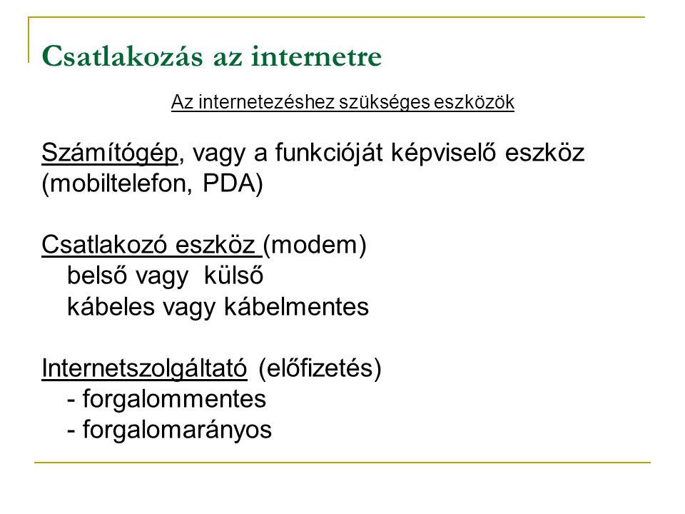 Csatlakozás az internetre Az internetezéshez szükséges eszközök Számítógép, vagy a funkcióját képviselő eszköz (mobiltelefon, PDA) Csatlakozó eszköz (