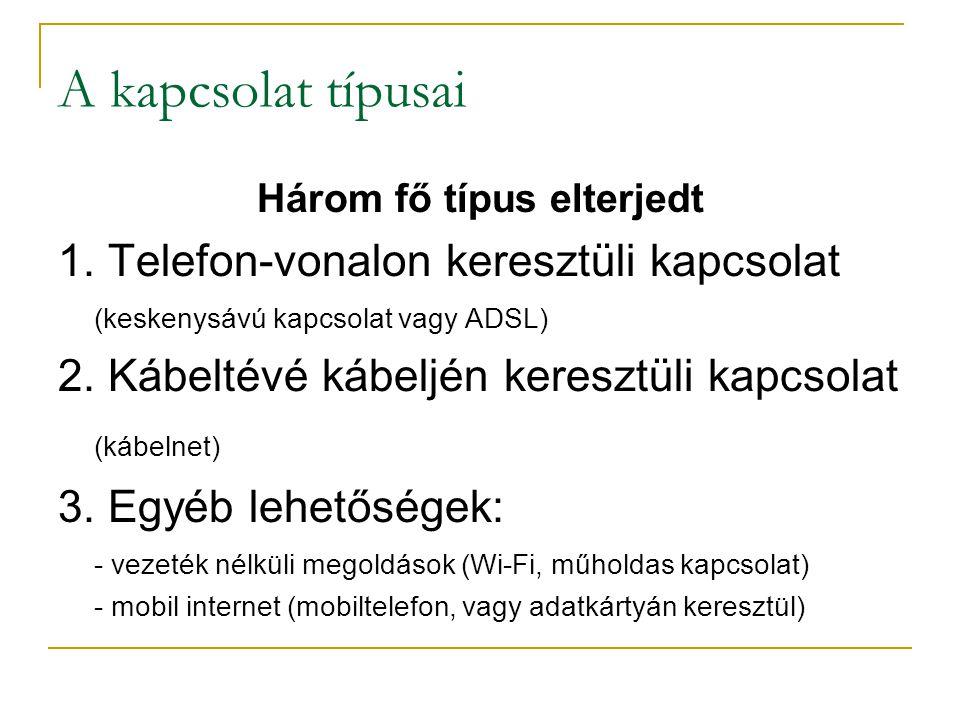 A kapcsolat típusai Három fő típus elterjedt 1. Telefon-vonalon keresztüli kapcsolat (keskenysávú kapcsolat vagy ADSL) 2. Kábeltévé kábeljén keresztül