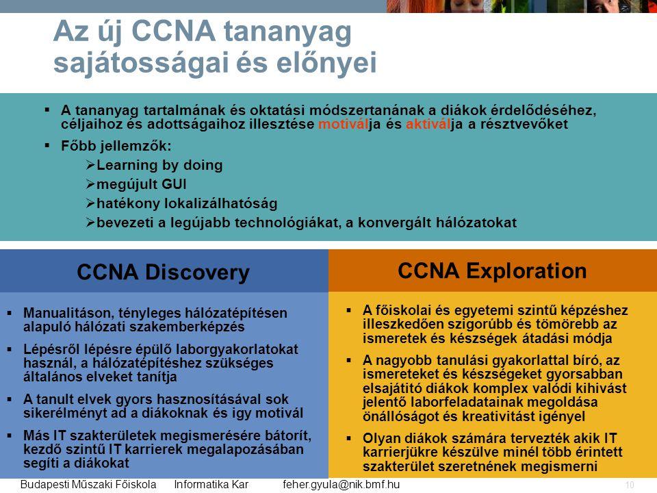 feher.gyula@nik.bmf.huBudapesti Műszaki Főiskola Informatika Kar 10 Az új CCNA tananyag sajátosságai és előnyei  A tananyag tartalmának és oktatási m
