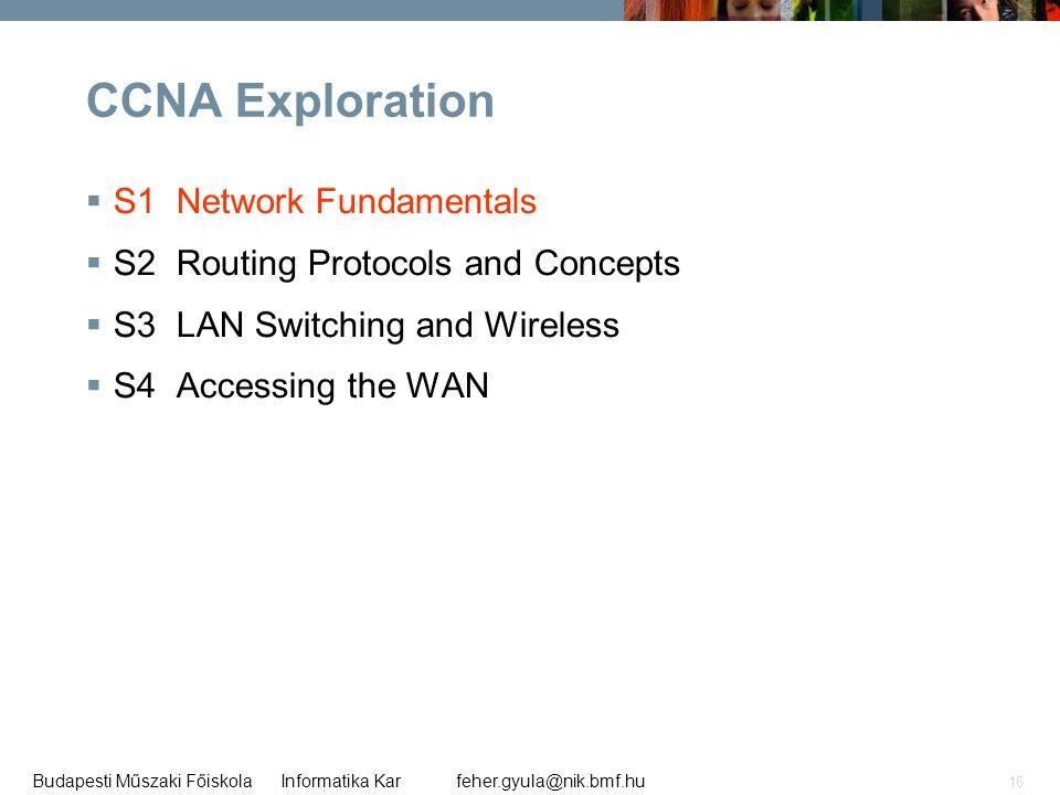 feher.gyula@nik.bmf.huBudapesti Műszaki Főiskola Informatika Kar 16 CCNA Exploration  S1 Network Fundamentals  S2 Routing Protocols and Concepts  S
