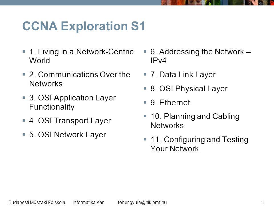 feher.gyula@nik.bmf.huBudapesti Műszaki Főiskola Informatika Kar 17 CCNA Exploration S1  1. Living in a Network-Centric World  2. Communications Ove