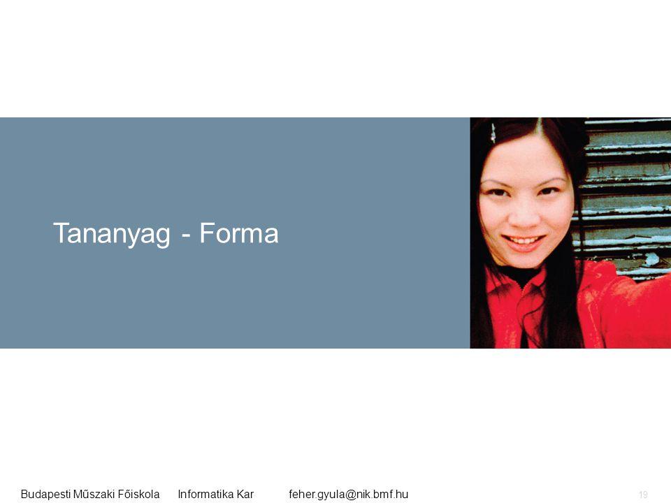 feher.gyula@nik.bmf.huBudapesti Műszaki Főiskola Informatika Kar 19 Tananyag - Forma