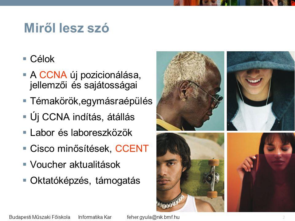 feher.gyula@nik.bmf.huBudapesti Műszaki Főiskola Informatika Kar 2 Miről lesz szó  Célok  A CCNA új pozicionálása, jellemzői és sajátosságai  Témak