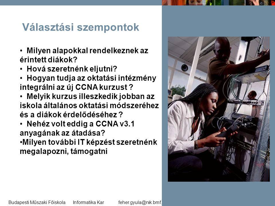 feher.gyula@nik.bmf.huBudapesti Műszaki Főiskola Informatika Kar 32 Választási szempontok • Milyen alapokkal rendelkeznek az érintett diákok? • Hová s