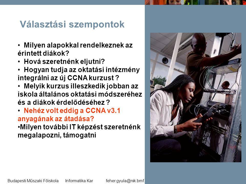feher.gyula@nik.bmf.huBudapesti Műszaki Főiskola Informatika Kar 33 Választási szempontok • Milyen alapokkal rendelkeznek az érintett diákok? • Hová s