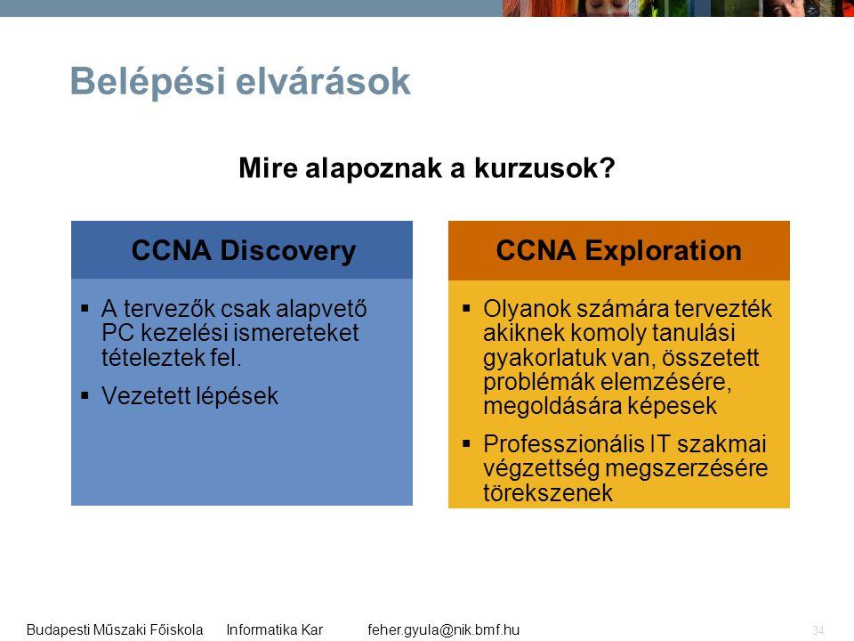 feher.gyula@nik.bmf.huBudapesti Műszaki Főiskola Informatika Kar 34 CCNA DiscoveryCCNA Exploration Belépési elvárások  A tervezők csak alapvető PC ke