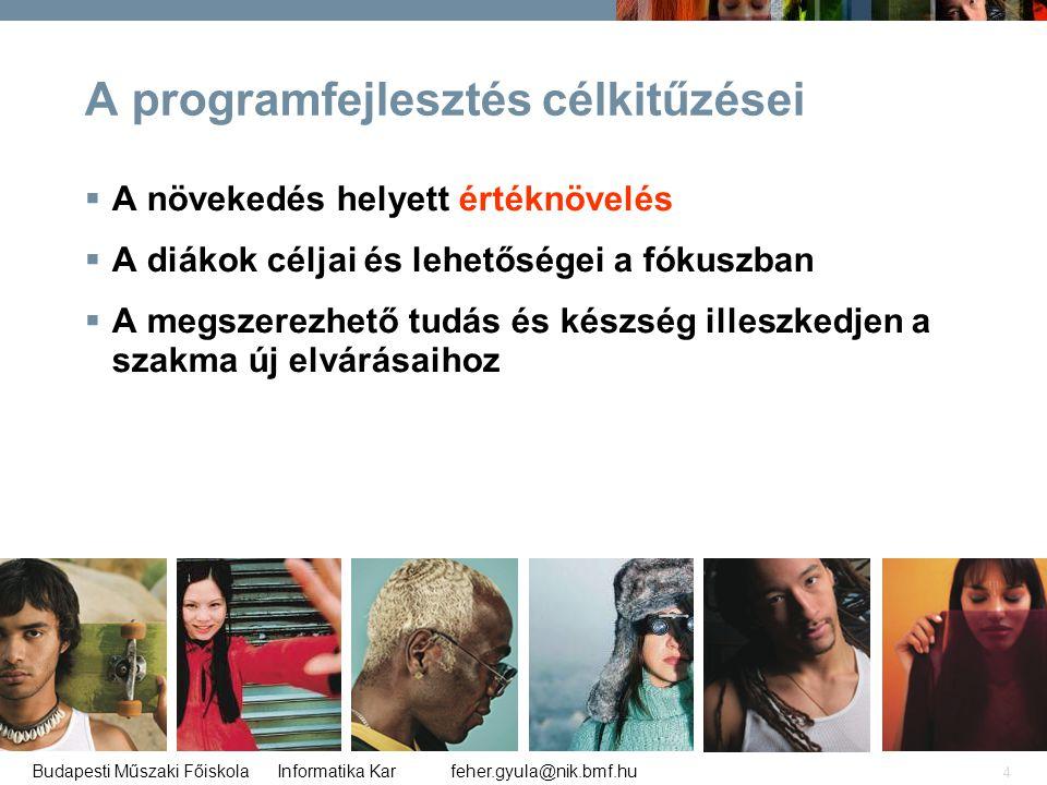 feher.gyula@nik.bmf.huBudapesti Műszaki Főiskola Informatika Kar 4 A programfejlesztés célkitűzései  A növekedés helyett értéknövelés  A diákok célj