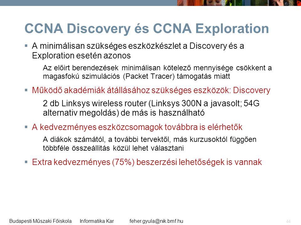 feher.gyula@nik.bmf.huBudapesti Műszaki Főiskola Informatika Kar 44 CCNA Discovery és CCNA Exploration  A minimálisan szükséges eszközkészlet a Disco