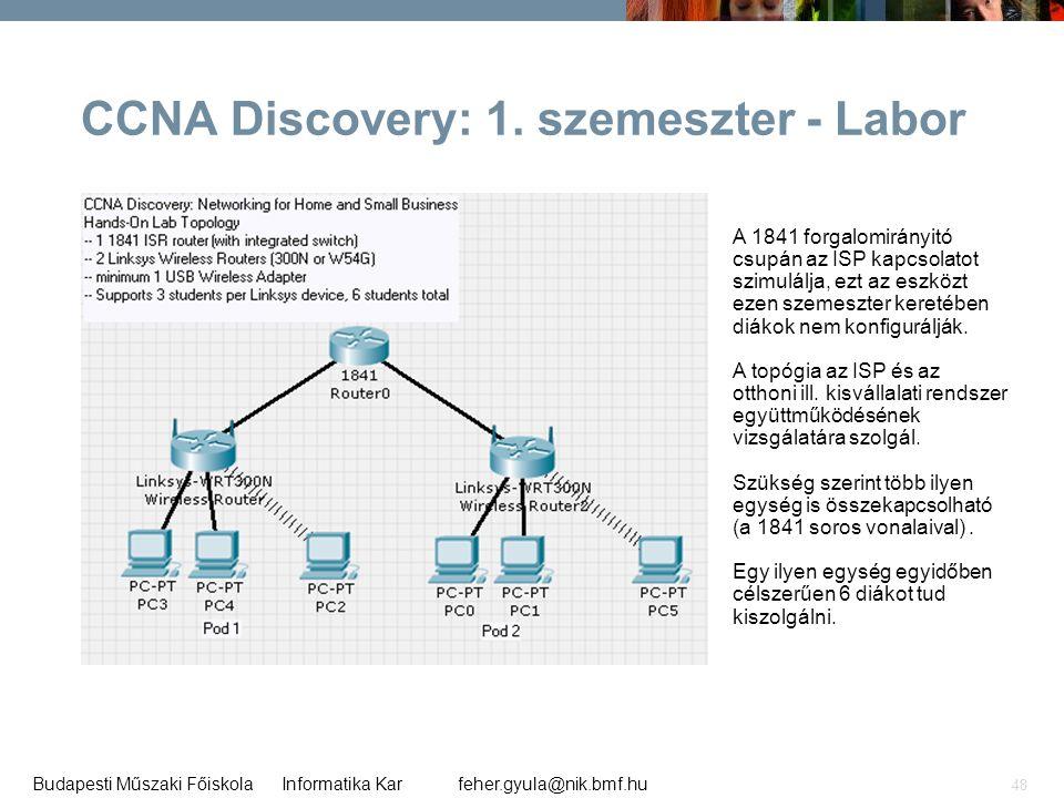 feher.gyula@nik.bmf.huBudapesti Műszaki Főiskola Informatika Kar 48 CCNA Discovery: 1. szemeszter - Labor A 1841 forgalomirányitó csupán az ISP kapcso