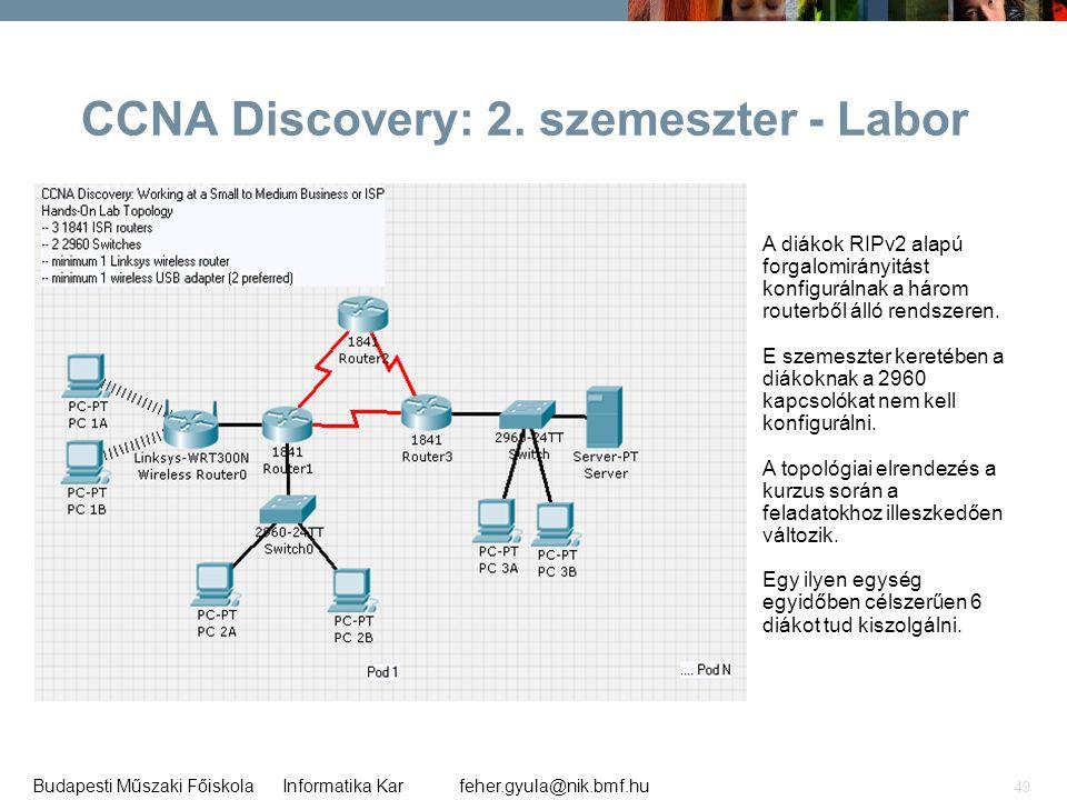 feher.gyula@nik.bmf.huBudapesti Műszaki Főiskola Informatika Kar 49 A diákok RIPv2 alapú forgalomirányitást konfigurálnak a három routerből álló rends