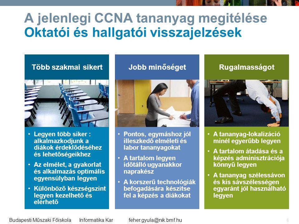 feher.gyula@nik.bmf.huBudapesti Műszaki Főiskola Informatika Kar 6 Több szakmai sikertJobb minőségetRugalmasságot A jelenlegi CCNA tananyag megitélése