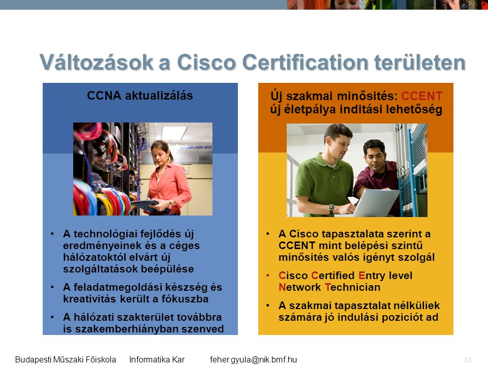 feher.gyula@nik.bmf.huBudapesti Műszaki Főiskola Informatika Kar 63 Változások a Cisco Certification területen CCNA aktualizálás •A technológiai fejlő