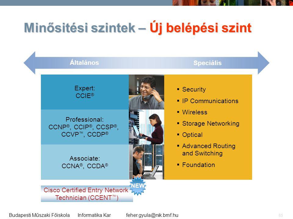 feher.gyula@nik.bmf.huBudapesti Műszaki Főiskola Informatika Kar 65 Minősitési szintek – Új belépési szint Expert: CCIE ® Professional: CCNP ®, CCIP ®