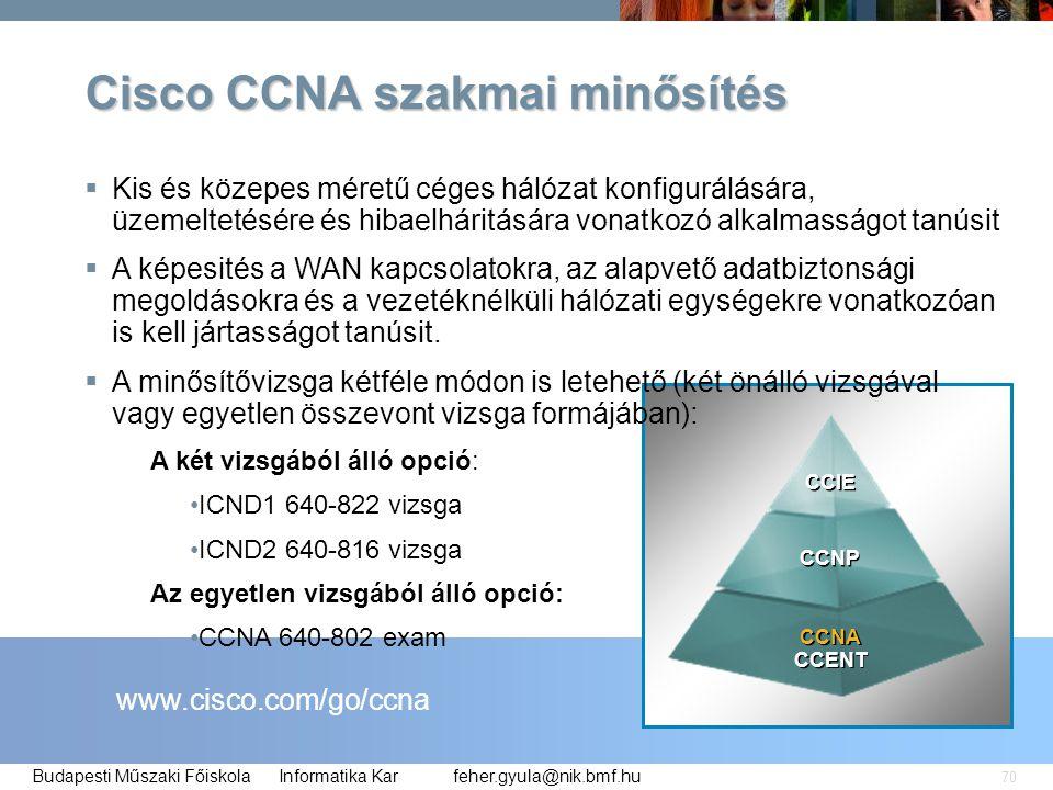 feher.gyula@nik.bmf.huBudapesti Műszaki Főiskola Informatika Kar 70  Kis és közepes méretű céges hálózat konfigurálására, üzemeltetésére és hibaelhár