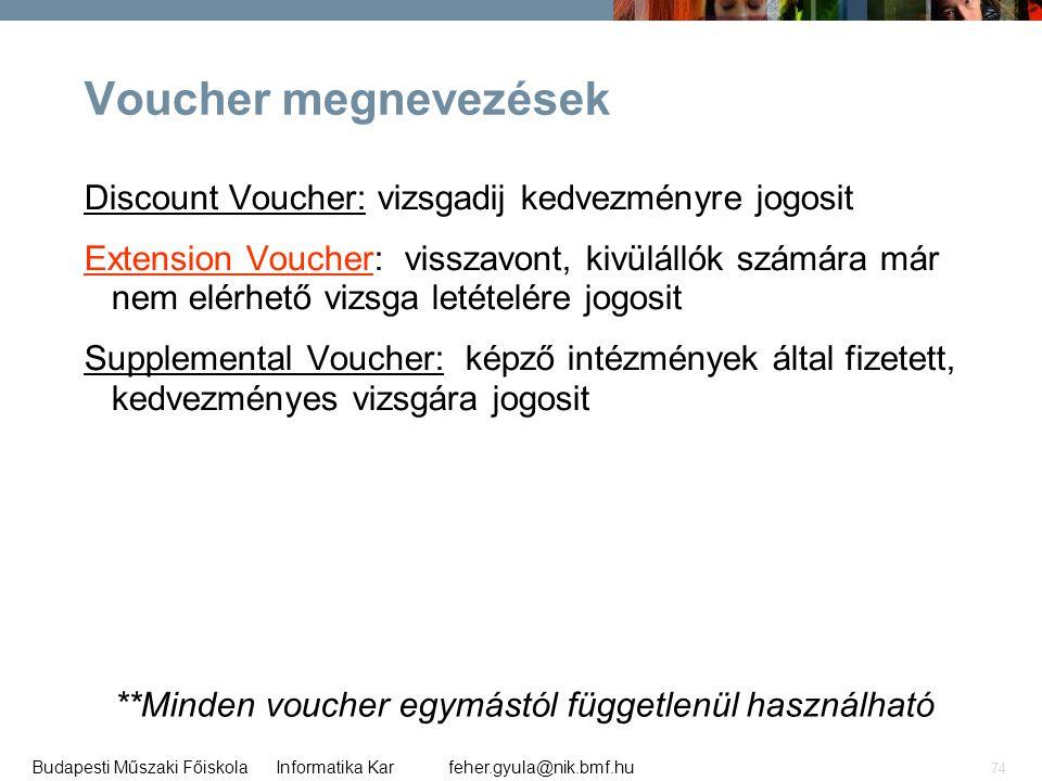 feher.gyula@nik.bmf.huBudapesti Műszaki Főiskola Informatika Kar 74 Voucher megnevezések Discount Voucher: vizsgadij kedvezményre jogosit Extension Vo
