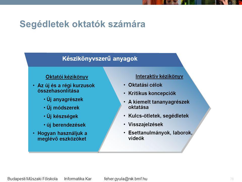 feher.gyula@nik.bmf.huBudapesti Műszaki Főiskola Informatika Kar 78 Segédletek oktatók számára Készikönyvszerű anyagok Oktatói kézikönyv •Az új és a r