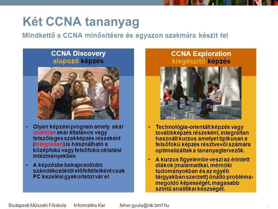 feher.gyula@nik.bmf.huBudapesti Műszaki Főiskola Informatika Kar 9 Két CCNA tananyag Mindkettő a CCNA minősitésre és egyazon szakmára készit fel CCNA