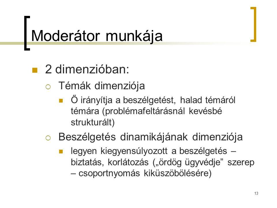 """13 Moderátor munkája  2 dimenzióban:  Témák dimenziója  Ő irányítja a beszélgetést, halad témáról témára (problémafeltárásnál kevésbé strukturált)  Beszélgetés dinamikájának dimenziója  legyen kiegyensúlyozott a beszélgetés – biztatás, korlátozás (""""ördög ügyvédje szerep – csoportnyomás kiküszöbölésére)"""