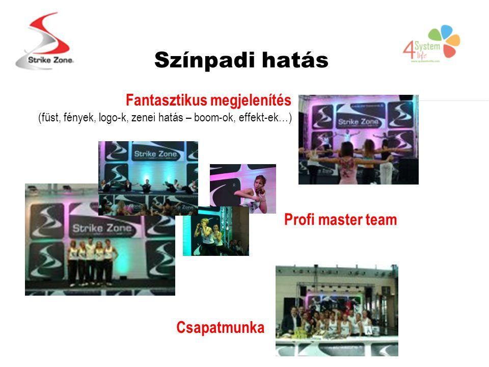 Színpadi hatás Fantasztikus megjelenítés (füst, fények, logo-k, zenei hatás – boom-ok, effekt-ek…) Profi master team Csapatmunka