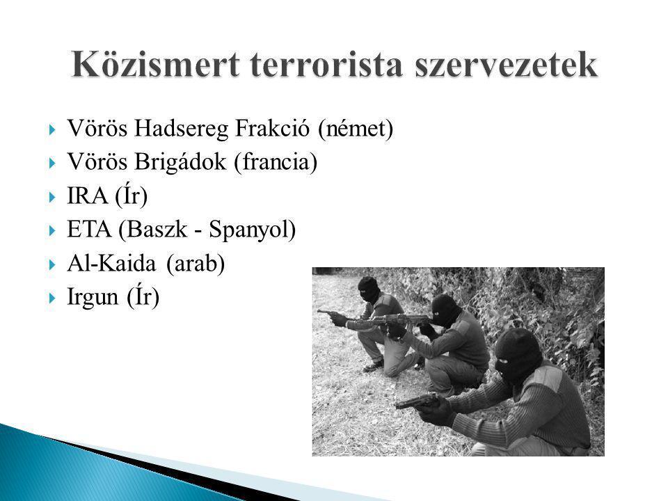  Vörös Hadsereg Frakció (német)  Vörös Brigádok (francia)  IRA (Ír)  ETA (Baszk - Spanyol)  Al-Kaida (arab)  Irgun (Ír)