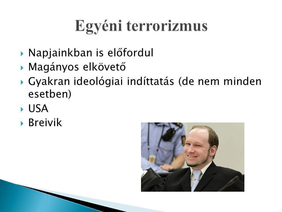  Napjainkban is előfordul  Magányos elkövető  Gyakran ideológiai indíttatás (de nem minden esetben)  USA  Breivik