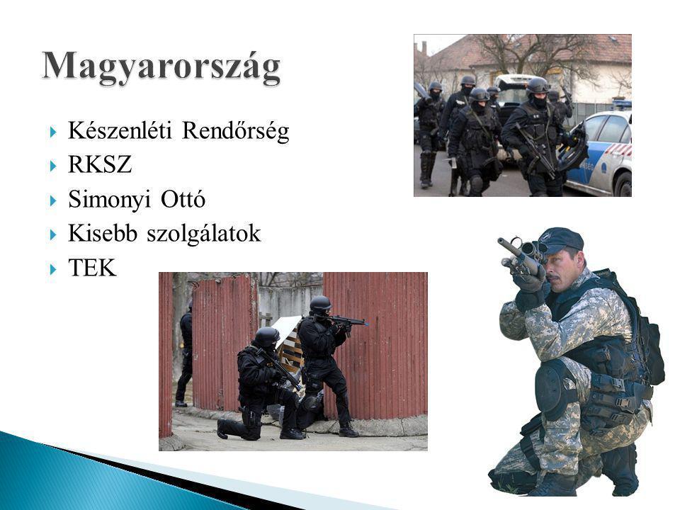 Készenléti Rendőrség  RKSZ  Simonyi Ottó  Kisebb szolgálatok  TEK
