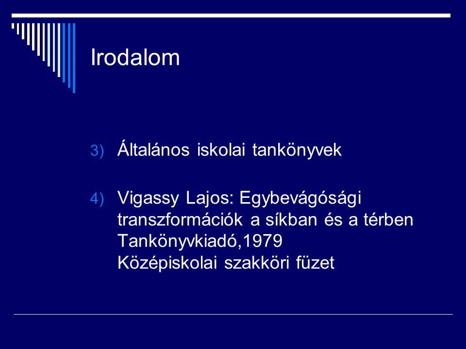 Irodalom 3) Általános iskolai tankönyvek 4) Vigassy Lajos: Egybevágósági transzformációk a síkban és a térben Tankönyvkiadó,1979 Középiskolai szakköri