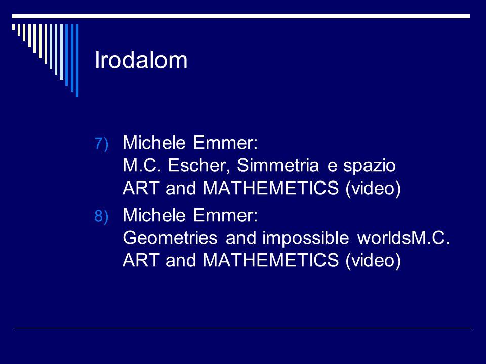 Irodalom 7) Michele Emmer: M.C. Escher, Simmetria e spazio ART and MATHEMETICS (video) 8) Michele Emmer: Geometries and impossible worldsM.C. ART and