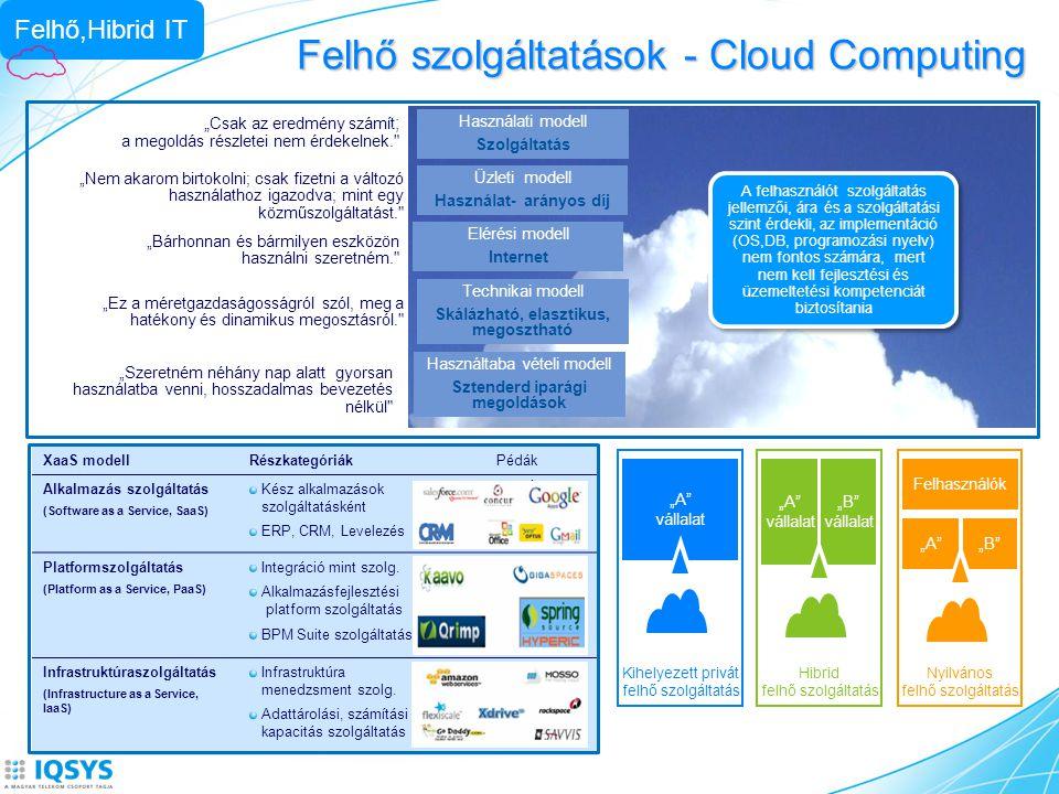 """Felhő szolgáltatások - Cloud Computing """" Csak az eredmény számít ; a megoldás részletei nem érdekelnek."""