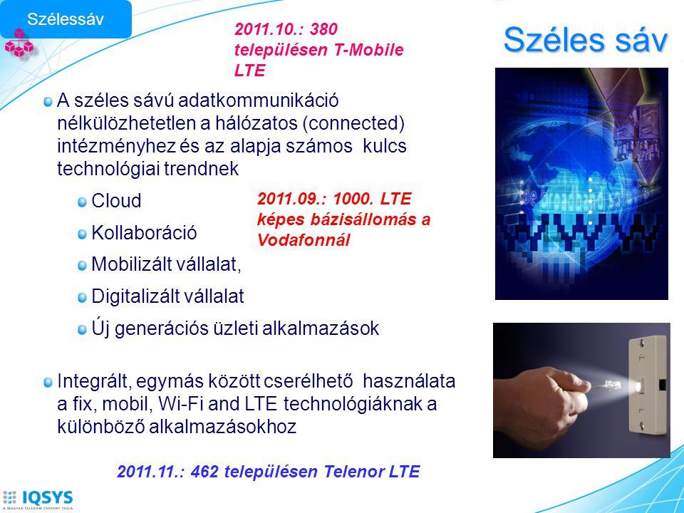 Széles sáv A széles sávú adatkommunikáció nélkülözhetetlen a hálózatos (connected) intézményhez és az alapja számos kulcs technológiai trendnek Cloud