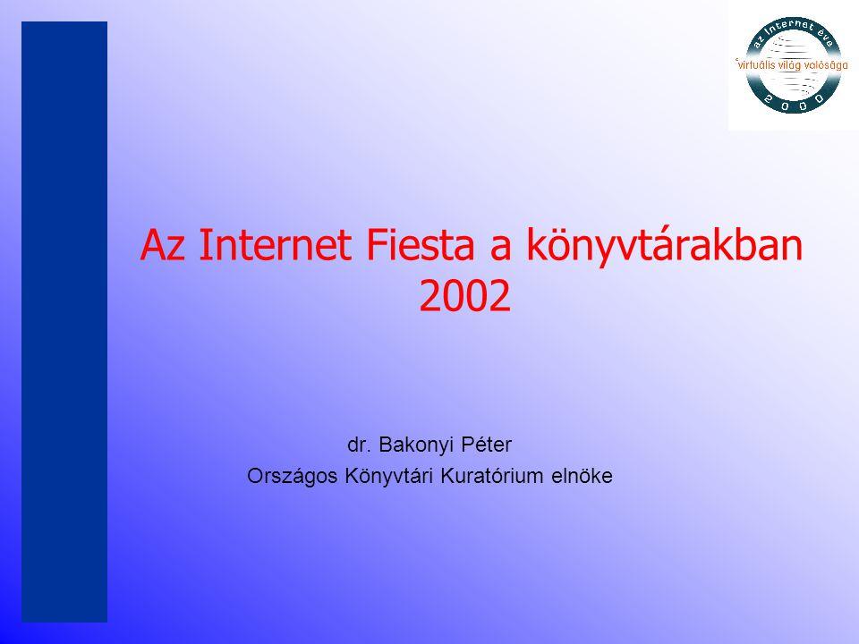 Előzmények •Fiesta 1999 – első világméretű rendezvény – cél: tudatosítsa az Internet jelentőségét •Internet Fiesta 2000 – video konferenciával •Internet Fiesta a könyvtárakban – 2001 •Kiemelt téma: az Akadémiai könyvtár 175 éves •Internet Fiesta a könyvtárakban - 2002 •Kiemelt téma: OSZK 200 éves