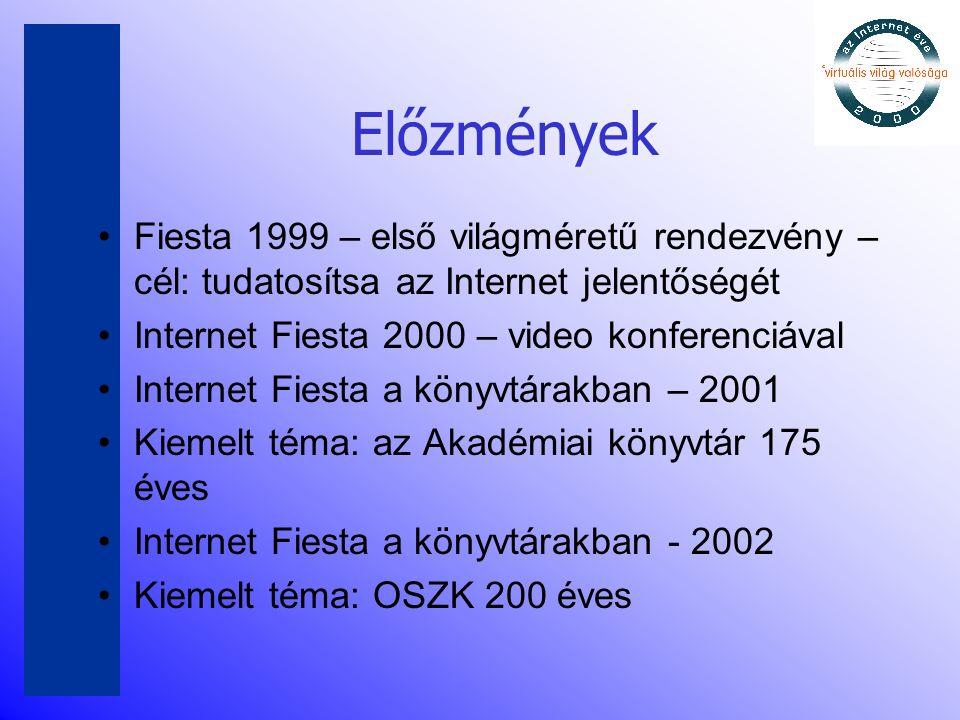 Előzmények •Fiesta 1999 – első világméretű rendezvény – cél: tudatosítsa az Internet jelentőségét •Internet Fiesta 2000 – video konferenciával •Intern