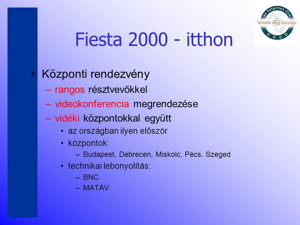 Fiesta 2000 - itthon •Központi rendezvény –rangos résztvevőkkel –videokonferencia megrendezése –vidéki központokkal együtt •az országban ilyen először